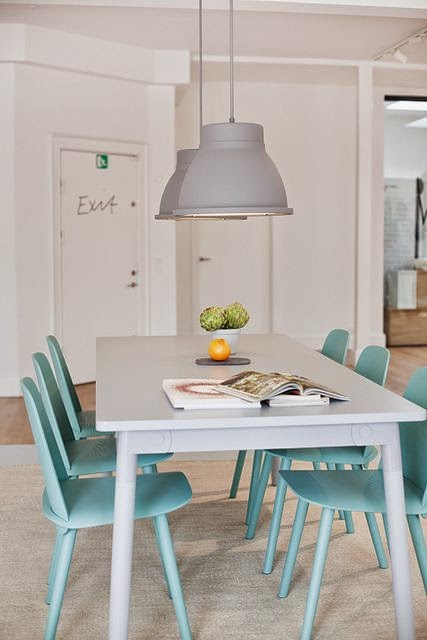 mint green blue details soft nice color pure dining room