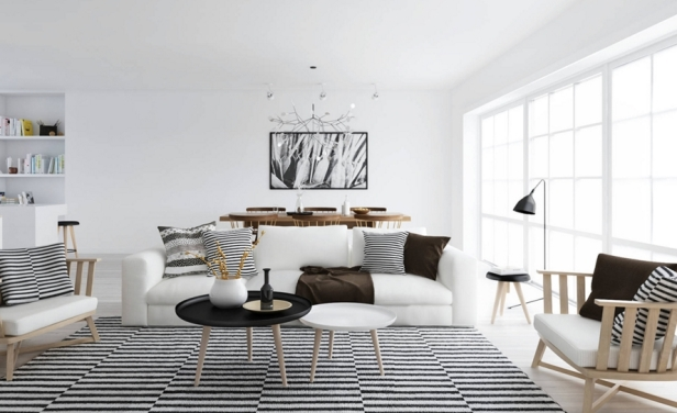 scandinavian style design living room lines