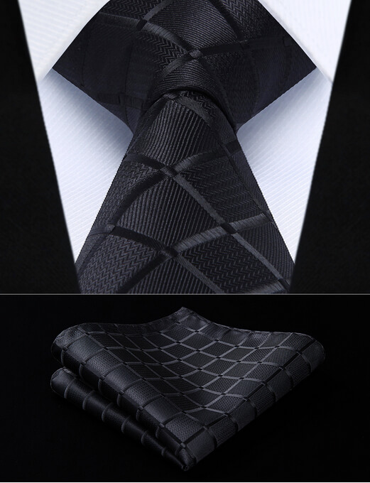 black necktie tie pocket square handkerchief set